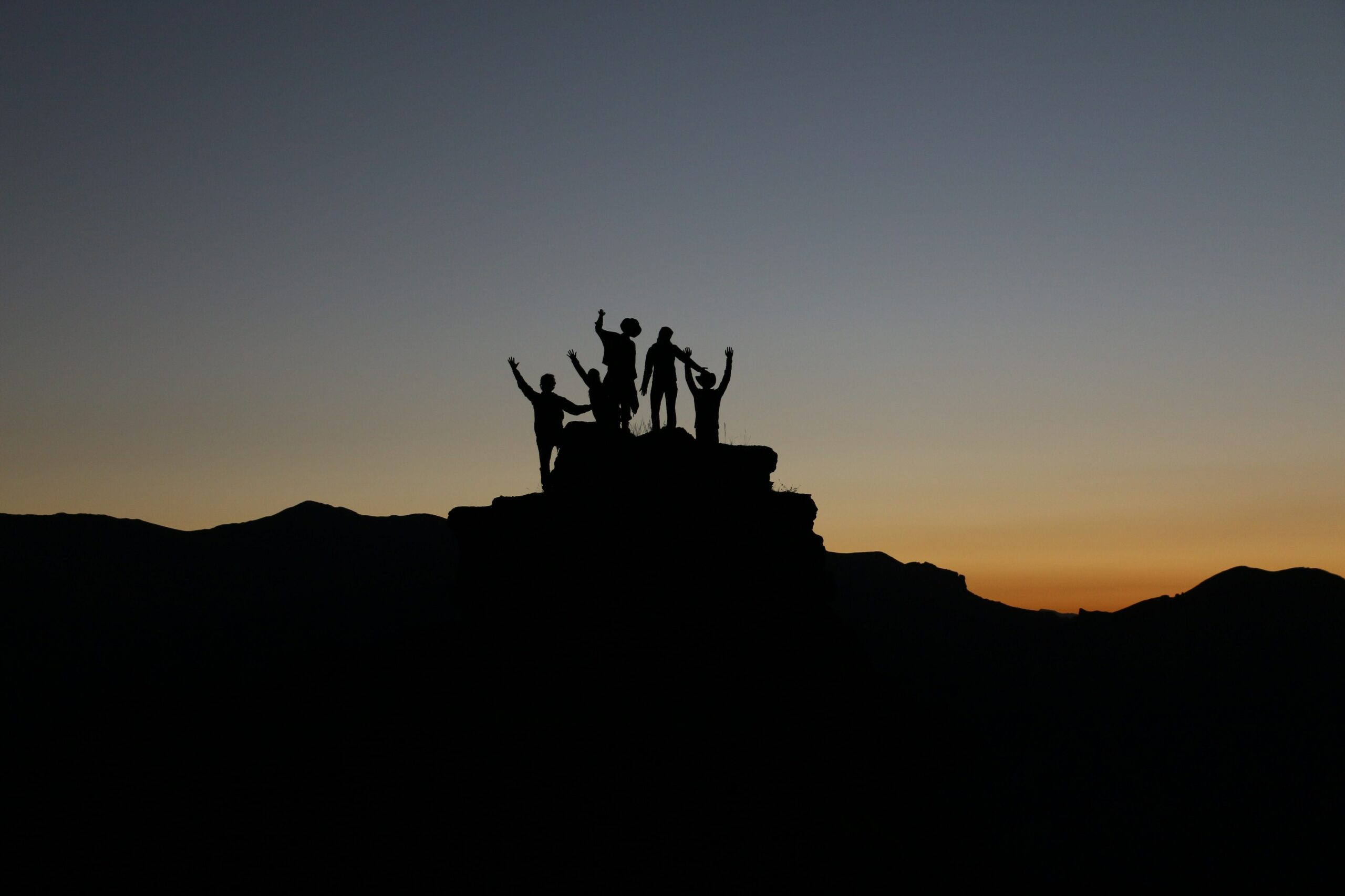 silhouette of people standing on highland during golden hours